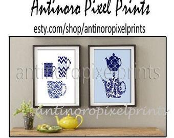 Teapot Mugs Kitchen Tools Navy Blue White Art Collection  -Set of (2) - Wall Art Prints (Unframed)