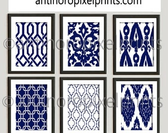 Ikat Navy White Damask Wall Art Pictures - Set of (6) 8x10 Prints - Custom Colors Sizes Available (UNFRAMED) #