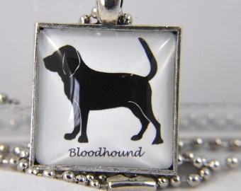 Dog Necklace - Bloodhound - Dog Breeds - Dog Silhouette - Dog Jewelry - Dog Lover - Dog Memorial Jewelry - Silhouette Necklace