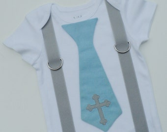 Custom Boutique Christening Tie Shirt With Suspenders Sizes 0-6mo, 6-12mo, 12-18mo, 18-24mo, 2t, 3t, 4t, 5/6, 7/8