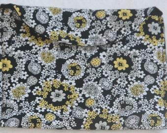 Black White and Yellow Designer Cotton Pouch