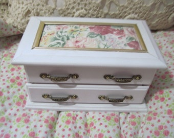 Pretty Flowered and white  Jewelry Box /Cottage Chic :)REDUCED IN PRICE To Clear out/ Not Included in Coupon Sale