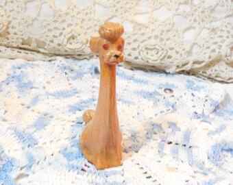 Poodle, Wood Poodle, Dog Figure, Mid Century Carved  Wooden Poodle Dog , Dog, Figure with Pink Crystal Jeweled eyes