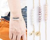 Tiny Freshwater Pearl Bar Bracelet, Gold / Silver / Pink Gold Chain, Peach / Blush Purple / White Pearl, PJ LJ bj
