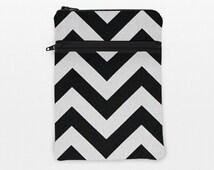 iPad Mini with retina Display Sleeve, iPad Air 2 Case, Fire HDX 8.9 Cover Case, Galaxy Note 10.1 Zipper Pouch - black white chevron stripes