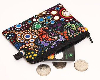 Coin purse, padded zip pouch, handmade womens small zip wallet, bright small fabric zipper wallet- colorful dots circles on black background