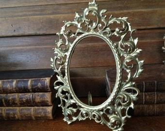 Victorian Brass Relief Floral Leaf Design Photo Picture Frame ~ Vanity Mirror Stand