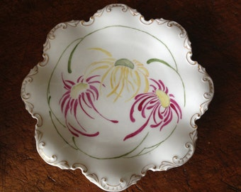 1927 GDA Limoges Plate Made in France Handpainted Floral Porcelain Signed and Dated