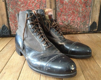 Edwardian Oxford Ankle Boots, Black leather, Canvas, Two Tone, Lace Ups