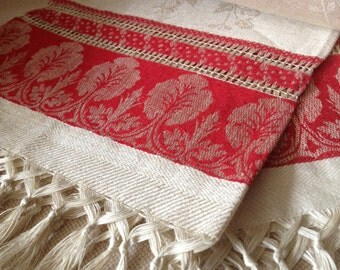 French Damask Linen Table Runner, White Red Linen, Fringed
