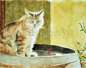 original watercolor ACEO art card painting, cat sitting in the sunshine
