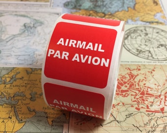 Air Mail Labels 25 / Airmail Par Avion Red Labels for Altered Art, Mixed Media, Journals, Scrapbooks