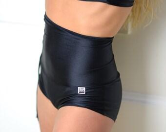Shorts in black high waist for Bikram yoga