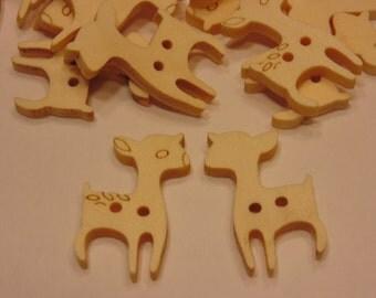 6 wooden deer buttons, 24 x 16 mm (42)