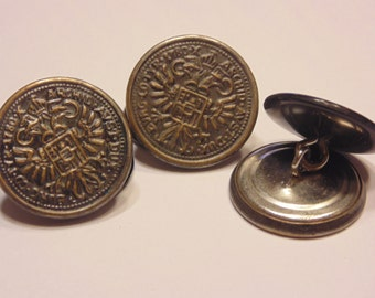 3 vintage metal buttons, 21 mm (7)