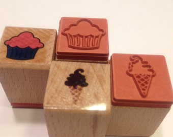 small cupcake and icecream stamps, 17 mm (BB1/2)