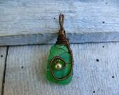 Sea glass pendant, Emerald gem, genuine sea glass, gift idea, wire wrapped pendant, Birthday gift pendant, beach glass pendant, brown wire