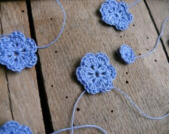 Crocheted blue flowers Garland (jeans color), winter Wedding garland, Wall Hanging, Crochet Wedding Garland, crochet ornament, embellishment
