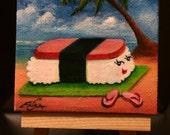 Spam Musubi - Mad Maki Works Acrylic Mini Painting (3x3inch)
