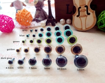Safety Crochet Doll Eyes Samples Stuffed Plastic Colorful Eyes 4.5mm/6mm/7.5mm/9mm/10.5mm/12mm-10pairs
