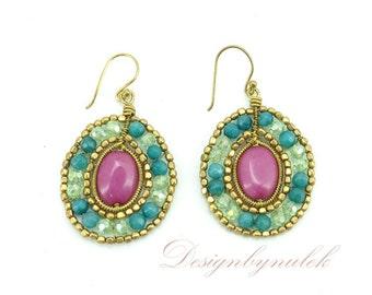 Jade and quartz earring hook.