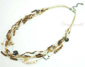 Brown freshwater pearl necklace.
