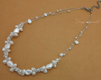 wedding bridal white freshwater pearl,crystal necklace.