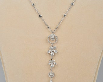 Signed Leo Pizzo superb 4.50 Ct diamond high class necklace