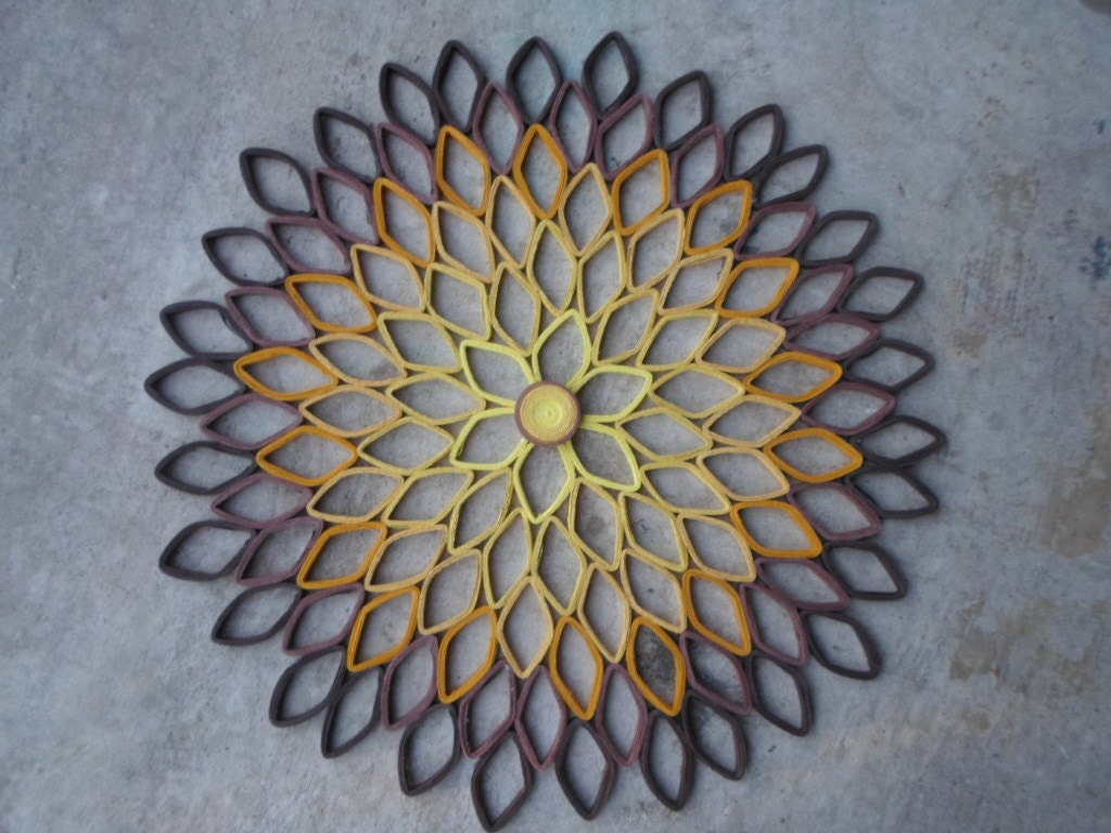 Contemporary dahlia wall art yellow mustard brown wall decor for Decoration murale jaune moutarde