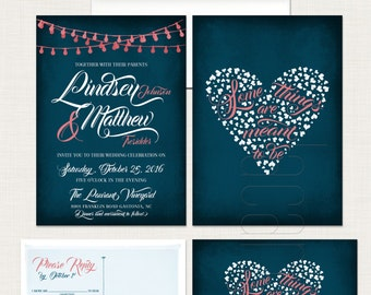 Navy Blue Chalkboard Wedding Invitation RSVP Some things are meant to be String Light Twinkle Lights invitation heart quote Design fee
