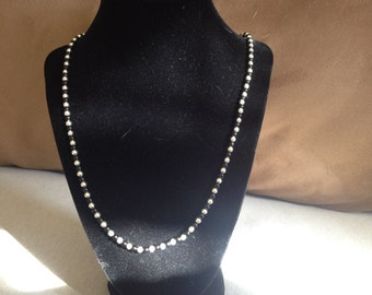 Vintage Silver Metal and Black Plastic Beaded Necklace