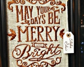 READY TO SHIP Merry and Bright Embtoidered Framed Burlap