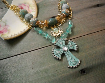 Turquoise Cross Necklace/Layered/Victorian/Edwardian
