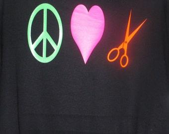 Peace, Love, Scissors Tshirt, Salon T-shirt