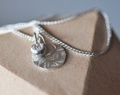 Sterling silver personalised small initial charm with leaf pendant on 16 or 18 inch curb chain. Monogram necklace gift for bridesmaids