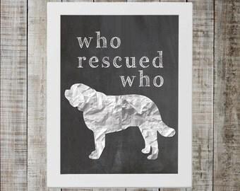 Saint Bernard 'who rescued who' Chalkboard Print