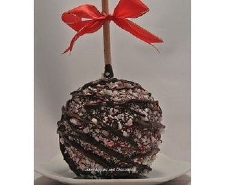 TWO - Dark Chocolate Peppermint Gourmet Caramel Apples