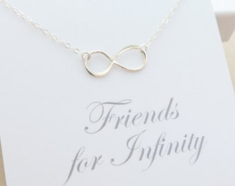 Friendship Necklace - Best Friend Necklace - Infinity Necklace - Sterling Silver Infinity Necklace - Delicate Jewelry - Message Card