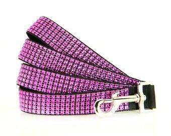Fuchsia Pink Rhinestone Dog Leash, Dog Lead: Diva Pink/Black Rhinestone
