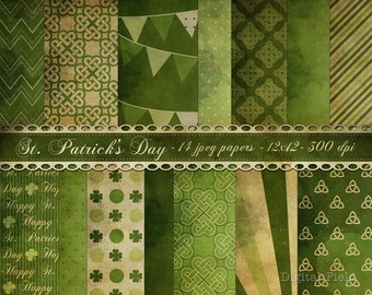 St. Patrick's Day digital paper pack - 14 jpeg printable shabby scrapbooking papers, 12x12, 300 dpi - instant download