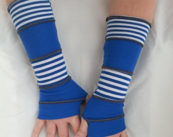 Arm warmers up cycled knit stripes unisex teen girls women boho hippie country girl cottage chic