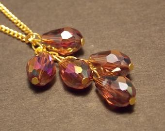 Purple Teardrop Cluster Necklace