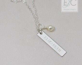 bar with pearl personalized engraved necklace