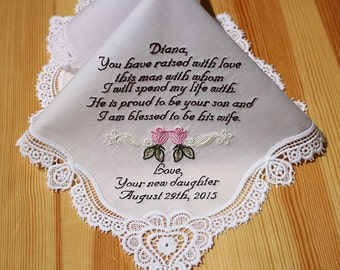 Mother of Groom Embroidered Personalized Wedding Handkerchief (#5061)
