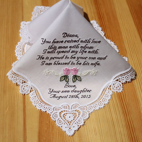 mother of groom embroidered personalized wedding handkerchief