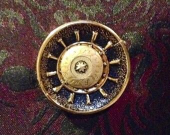 Brass compass and helm cuff links