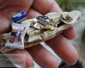 Miniature S'MORE, Graham Crackers, Chocolate, and Marshmallow on ROASTING STICK - by Landscapes In Miniature