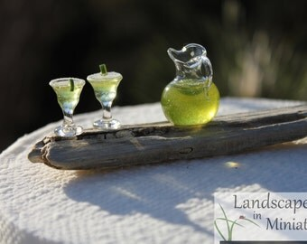 Miniature LIME MARGARITAS On DRIFTWOOD for your Miniature Beach Vacation or Wedding Cake Topper - By Landscapes In Miniature