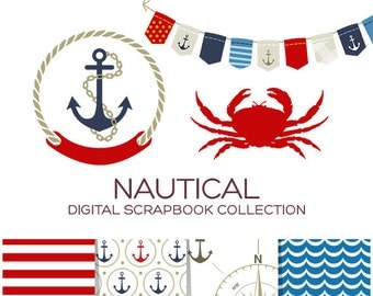 Nautical Clip Art Sailor Clipart Anchor Clipart Crab Clipart Bunting Banner Clipart Striped Paper Nautical Digital Paper Red Blue - CN00001