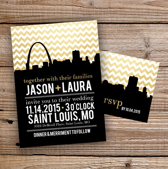 Personalized Skyline Wedding Invitations: Saint Louis Skyline Wedding Invitation Set Printable Or